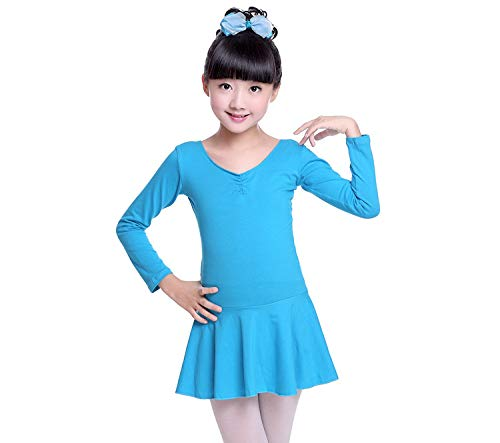 Nayiya Girls Skirted Long Sleeve Leotard Cotton Back Bowknot Ballet Dress 3-8T