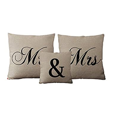 Generic Custom Mr and Mrs Linen Pillow Set Unique Wedding Gift Idea Set of 3