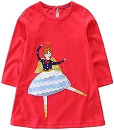 Girls Long Sleeve Dress Cotton Cartoon Casual Dresses