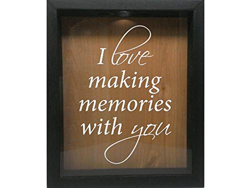 Wicked Good Decor Wooden Shadow Box Wine Cork/Bottle Cap/Tickets 9x11 - I Love Making Memories with You (Ebony w/White)