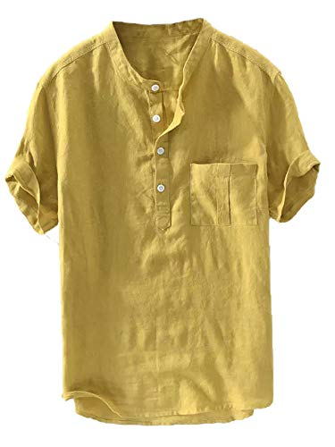 Gtealife Mens Casual Henley Linen Shirt Short Sleeve T Shirt Pullovers Tees Retro Frog Button Cotton Shirts Beach Tops (Large, D-Yellow)