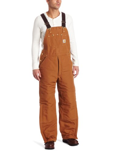 Carhartt Men's Quilt Lined Duck Bib Overalls R02,Brown,42 x 32