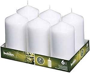 BOLSIUS Set of 6 White Pillar Candles - 3x6 inch Unscented Candle Set - Dripless Clean Burning Smokeless Dinner Candle - Perfect for Wedding Candles, Parties and Special Occasions