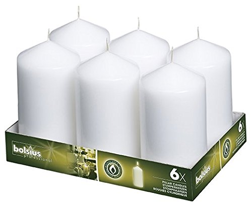 Bolsius 3x6 Set Of 6 White Pillar Candles aprox 3x6 inces (Candle Dripless Pillar)