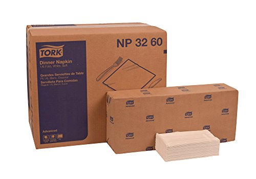 Tork NP3260 Advanced Soft Dinner Napkin, 1/6 Fold, 2-Ply, 16.25