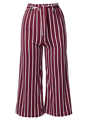 Awesome21 Casual Tie Waist Culottes Capri Length Pants Burgundy -
