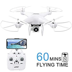 60Mins Flight Time Drone, JJRC H68 RC Drone with 720P HD Camera Live Video FPV 6-Axis Gyroscope Quadcopter with Headless Mode, Altitude Hold Helicopter with 3 Batteries(20Mins + 20Mins + 20Mins)-White 41p1Q80E0gL