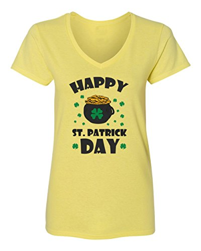 (Societee Happy ST Patrick's Day I'm Lucky Irish Women´s Vneck T-Shirt (Yellow,2XL))