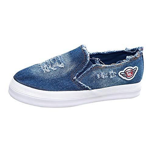 (Sherostore ♡ Girls Women's Go Walk Slip-On Walking Shoe Nurse Shoes Casual Moccasin Driving Classic Canvas Shoes Dark Blue)