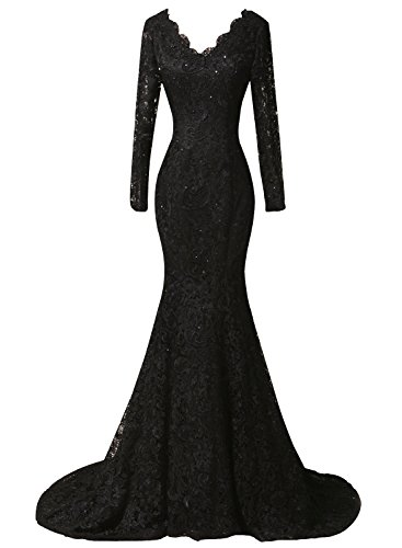 (DKBridal Women's Long Sleeves Mermaid Formal Prom Evening Dresses Lace Beaded Party Gowns Black 10)
