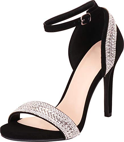 (Cambridge Select Women's Open Toe Ankle Strap Crystal Rhinestone Stiletto Heel Dress Sandal,9 B(M) US,Black NBPU)