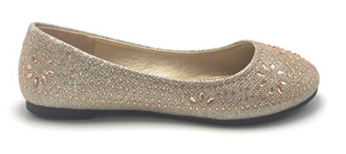 Donna Glitter Sparkle Balletto Strass Flat Ballerina Da Donna Sera Slip On Shoe Oro / Helen-381