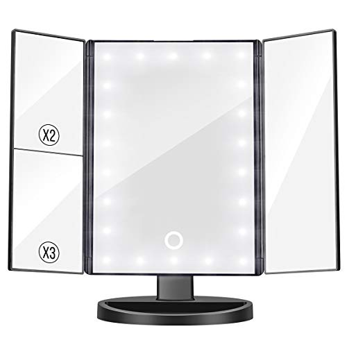 Govee Lighted Makeup Mirror, 3X/2X Magnifying Trifold Vanity Mirror with 22 LED Lights, 180° Rotation Touch Screen Cosmetic Mirrors Dual Power Supply