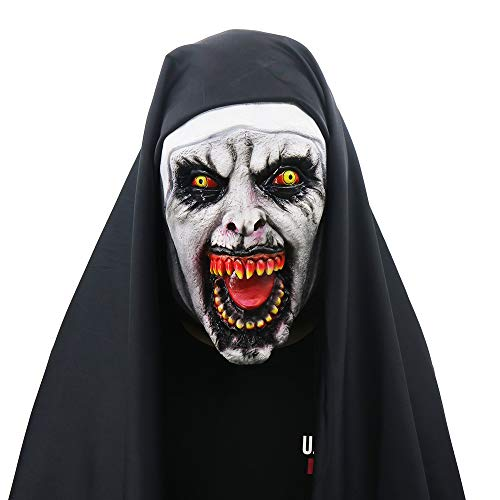 Halloween Mask, Yachee Creepy Novelty Horror Zombie Full Head Deluxe Latex Mask for Halloween Cosplay Prank Props - Nun -