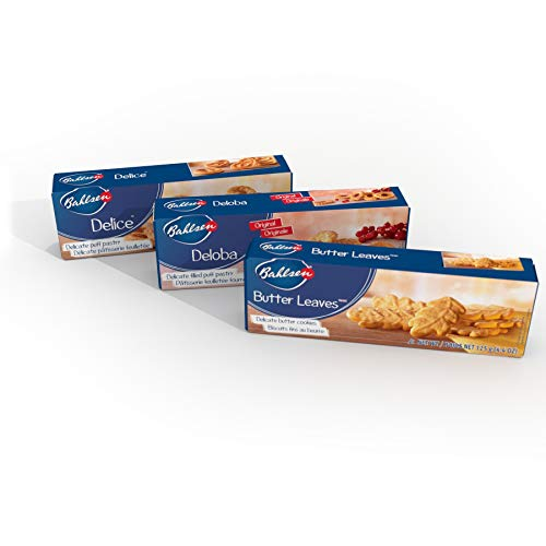 Bahlsen Sugar - Bahlsen Delice, Deloba, and Butter Leaves Sampler (3 Pack) | Three varieties of soft, flaky, and buttery goodness (3.5 and 4.4 ounce boxes)