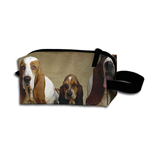 FANRENYOU Makeup Cosmetic Bag Basset Hound Three Dogs Zip Travel Portable Storage Pouch For Men Women White-One Size