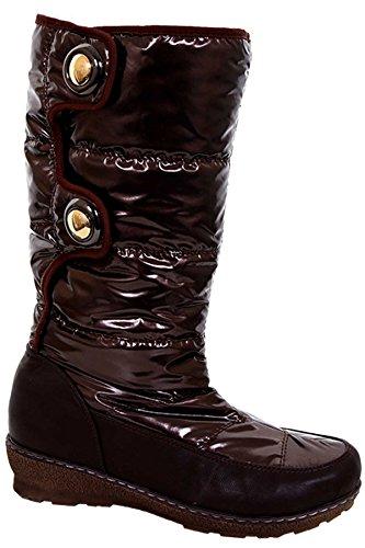BOUTIQUE Faux Wool Water Boots Brown Ladies ® Resistant Women's Low Inner Heel Snow Rain FANTASIA dwzHvd