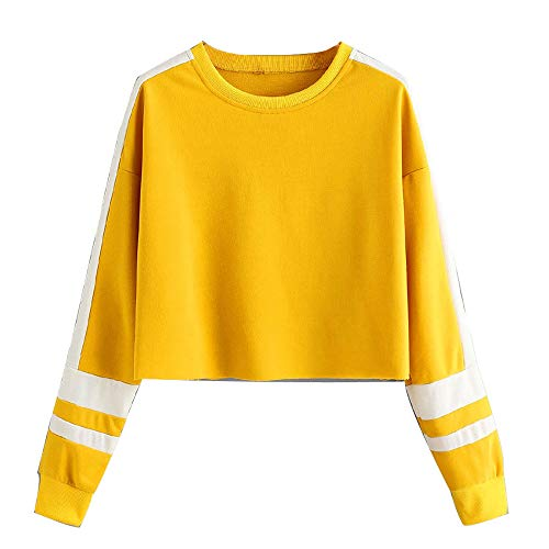 Womens Long Sleeve Pullover, Patchwork Stripe Round Neck Sweatshirt ANJUNIE Blouse Tops(Yellow,S)