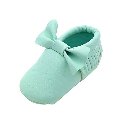 QHGstore Baby-Kleinkind-Schuhe mit bowknot Quasten Rutsch-Soles 13cm Rose Blau