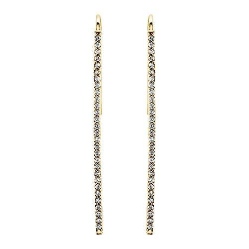 Diamond Vertical Bar Earrings (36mm 14k Yellow Gold 1/4 CTW (H-I, I1) Diamond Vertical Bar Earrings)