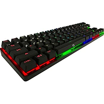DREVO Calibur 71-Key RGB LED Backlit Wireless Bluetooth 4.0 / USB Wired Gaming Mechanical Keyboard Blue Switch-Black