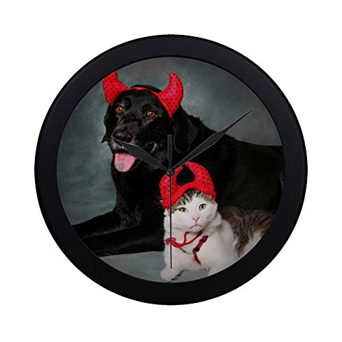 Modern Simple Cat And Dog Wearing Devil Halloween Costumes Pattern Wall Clock Indoor Non-ticking Silent Quartz Quiet Sweep Movement Wall Clcok For Office,bathroom,livingroom Decorative 9.65 Inch
