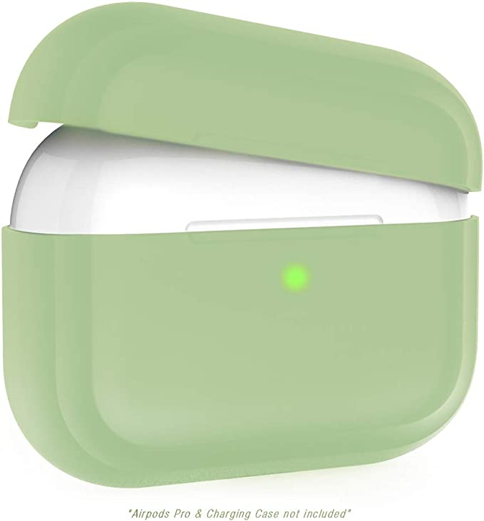 Image ofFunda Compatible con Airpods Pro, Kaliwa Airpods Pro Case Protective Silicona, LED Frontal Visible, Estuche de Silicona Cover Case para Airpods Pro (Green)