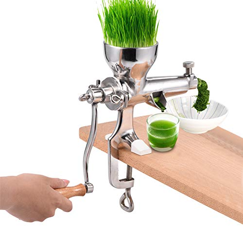 Wheat Grass Juicer, Stainless Steel Wheatgrass Manual Hand Health Juice Extractor Tool Masticating Juicer Vegetable Squeezer