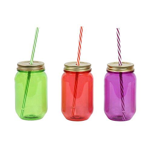 DEI Assorted Plastic 16 oz. Mason Jar with Lid & Straw, Set of -