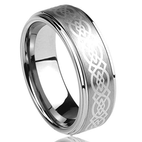 8MM Titanium Mens Womens Rings Laser Etched Celtic Knot Design Comfort Fit Wedding Bands SZ: 10 (Design Comfort Fit Wedding Ring)