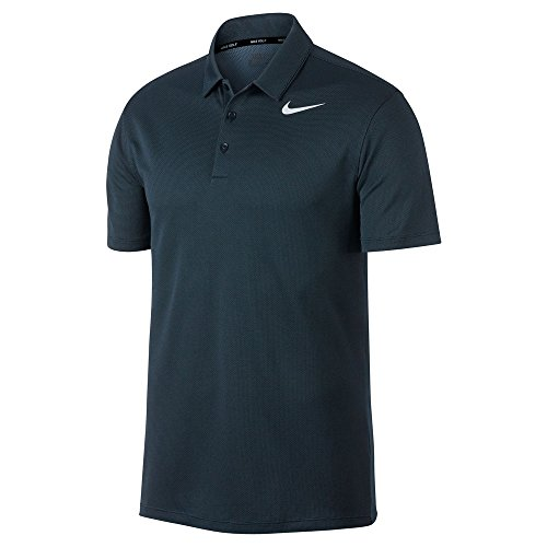 (Nike Dry Fit Textured Golf Polo 2017 Armory Navy/Armory Blue/White Large)