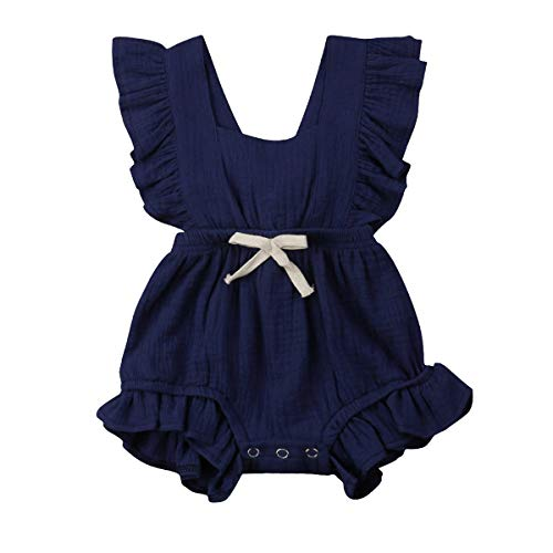 YOUNGER TREE Toddler Baby Girl Ruffled Collar Sleeveless Romper Jumpsuit Clothes (Blue, 6-12 Months)