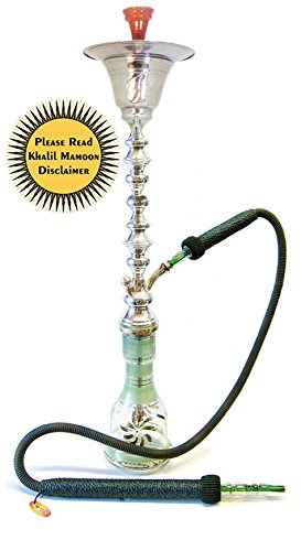 "KHALIL MAMOON SILVER SHAREEF ICE CHAMBER 36"" COMPLETE HOOKAH SET: Single Hose shisha pipe. Handmade Egyptian Narguile Pipes. These are Traditional Middle Grade Chrome Metal Hookahs. by Khalil Mamoon"