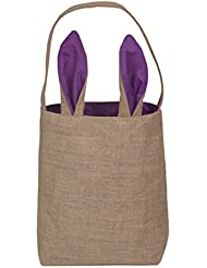 Aspire Bulksale Easter Bunny Bags Dual Layer DIY Tote Jute Treat Packing Cotton Ear Bag Party Favor Purple 120PCS