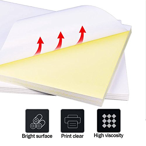 65 Sheets Glossy Sticker Paper, A4 Self Adhesive Sticker Label Paper for Laser and Inkjet Printers by Hapree by Hapree (Image #2)