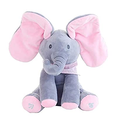 Floppy The Peekaboo Elephant, Interactive Plush Toy Sings & Plays Peek-A-Boo, Anti-Stress Stuffed Animal Doll for Infants, The Best Gift for Baby Showers, Toddler Birthdays, and Easter