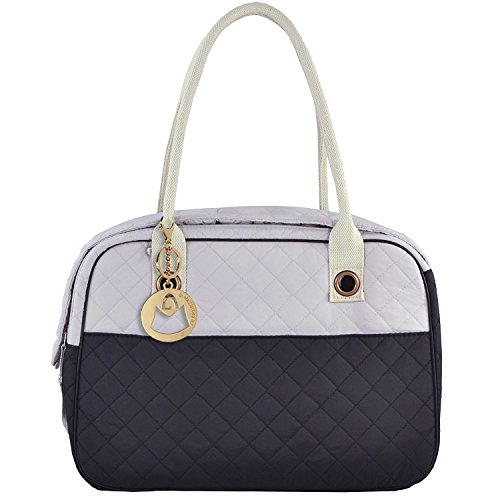 Hihihappy Folding Stylish 2 Tone Quilted Soft Sided Travel Dog and Cat Pet Carrier Tote Hand Bag Black