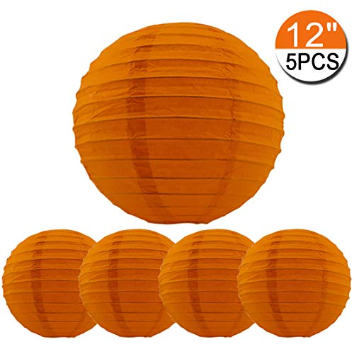 5 Packs Orange Hanging Paper Round Lanterns 12 inch Decorative for Birthday Bridal Wedding Baby Shower Parties Assorted Sizes (Orange, 12'')]()