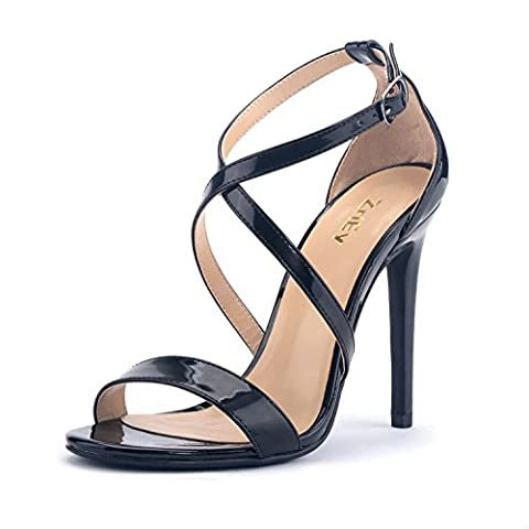 ZriEy Women Stiletto Sandals Cross Strappy High Heels 11CM Open Toe Bridal Wedding Party Shoes Patent Leather Black Size - Patent Strappy Stiletto Heel