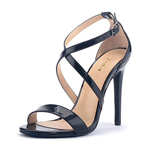Patent Leather Strappy Sandals - ZriEy Women Stiletto Sandals Cross Strappy High Heels 11CM Open Toe Bridal Wedding Party Shoes Patent Leather Black Size 8