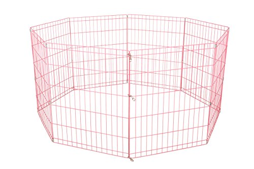 42-Pink Tall Dog Playpen Crate Fence Pet Kennel Play Pen Exercise Cage -8 Panel (For Cage Fence)
