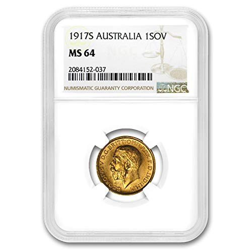 1917 AU S Australia Gold Sovereign George V MS-64 NGC Gold MS-64 NGC (Dragon Set Coin Gold)