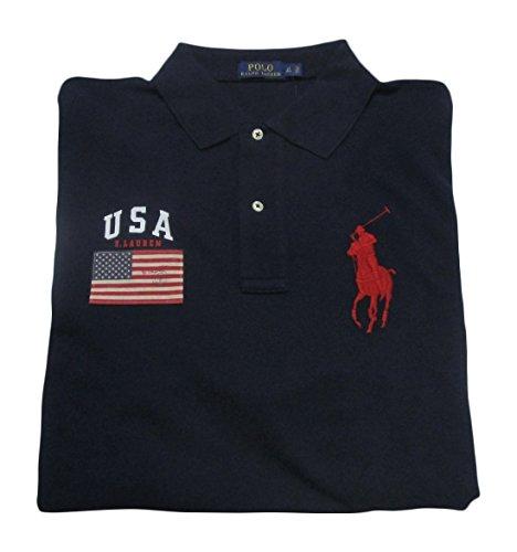 Polo Ralph Lauren Men's Big and Tall Mesh Cotton Polo Shirt Big Pony (2XLT, French Navy)