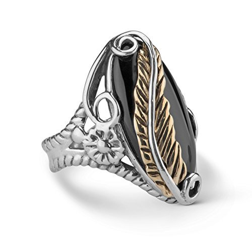 American West Sterling Silver Brass Black Onyx Leaf Ring ()