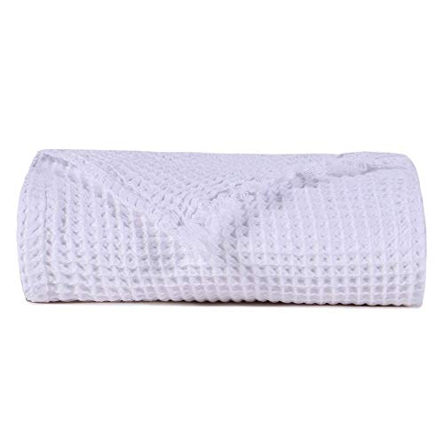 - EMME Cotton Thermal Blanket in Waffle Weave- Soft Cozy Cotton Blanket Hypoallergenic Breathable Daycare Bed Blankets Travel Throws (White, Throw)
