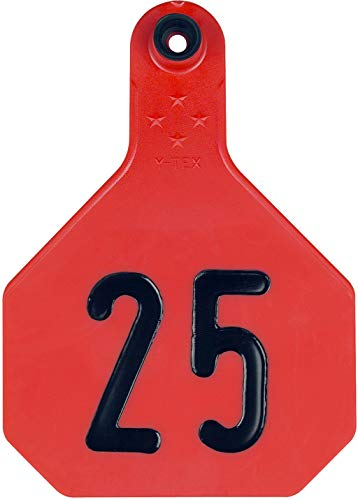 - Ytex 4 Star Large Red Cattle Ear Tags Numbered 26-50