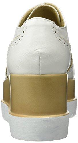 Angkorly - Scarpe da Moda Scarpe brogue zeppe donna perforato Tacco zeppa piattaforma 7 CM - Bianco