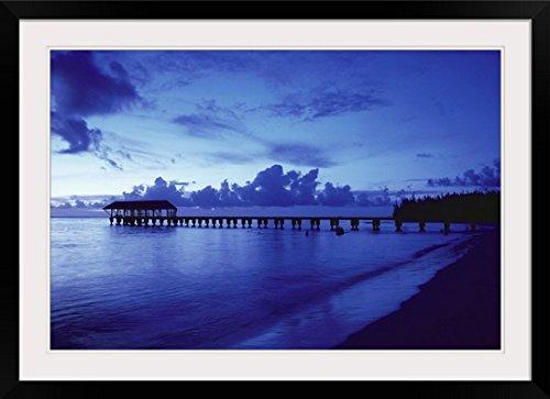 GreatBIGCanvas ''Hawaii, Kauai, Hanalei Bay, Pier At Twilight'' by Robert Sablan Photographic Print with Black Frame, 36'' x 24'' by greatBIGcanvas