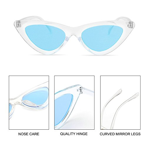 c8492c5e985d5 ... Livhò Retro Vintage Narrow Cat Eye Sunglasses for Women Clout Goggles  Plastic Frame Clear Blue ...