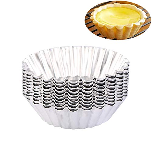 - 100Pcs Silver Color Chrysanthemum Style Egg Tart Mold, Egg Cups, Cupcake Mold, Aluminum Foil Egg Tart/Cake Baking Cup Household Baking and Pastry Tools